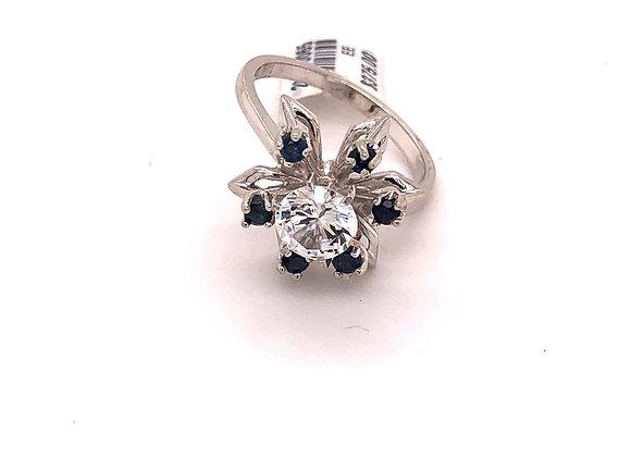 CZ and Sapphire Starburst Ring