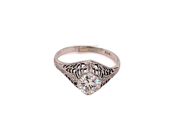 18k white gold vintage filigree estate ring