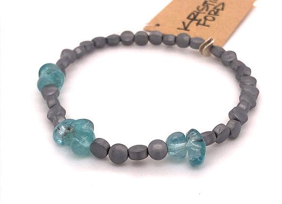 Aquamarine and Hematite Bracelet