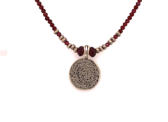Garnet and Turkish Coin Necklace