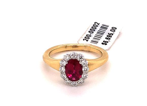 Oval Ruby Diamond Halo Ring