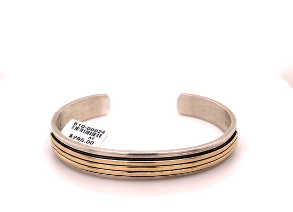 Sterling Silver and Gold Cuff Bracelet