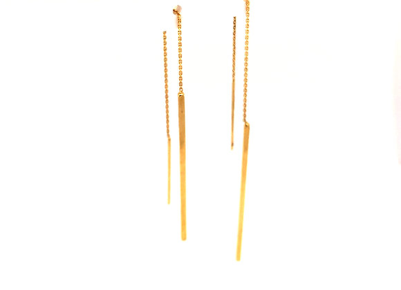 Yellow Gold Dangle Threader Earrings