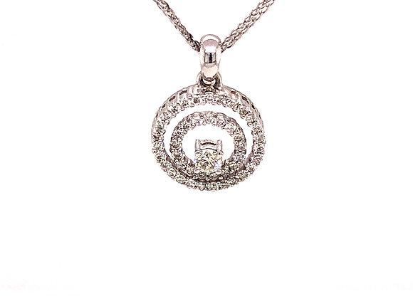 Double Circle Diamond Pendant/Necklace