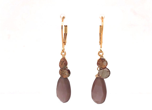 Chocolate Moonstone and Andalucite Earrings