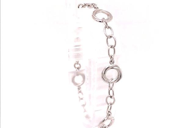 White Gold Round Link Bracelet