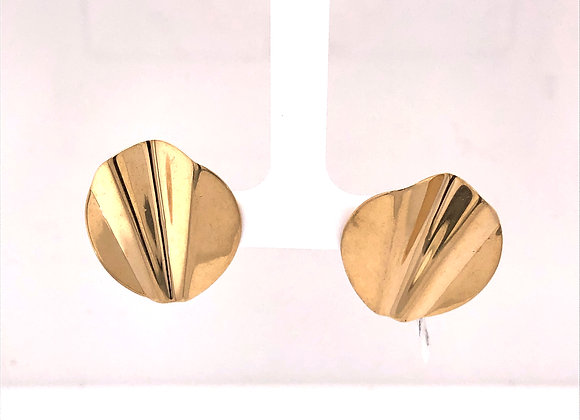 Yellow Gold Formed Disk Earrings