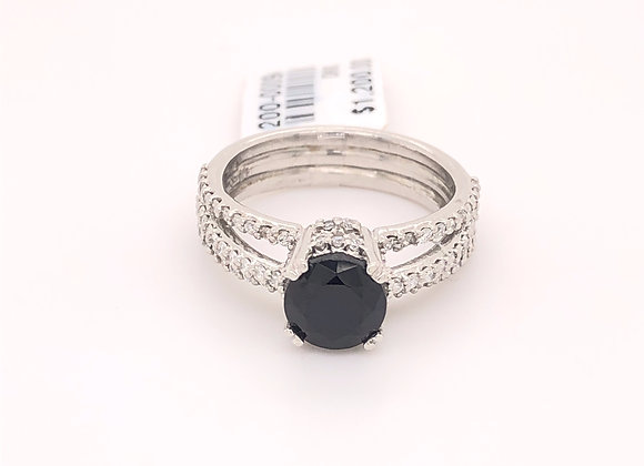 Black Spinel and Diamond Ring