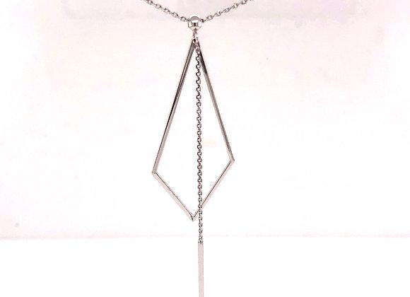 White Gold Geometric Drop Necklace