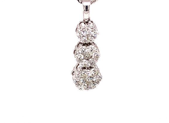 3 stone Diamond Halo Necklace