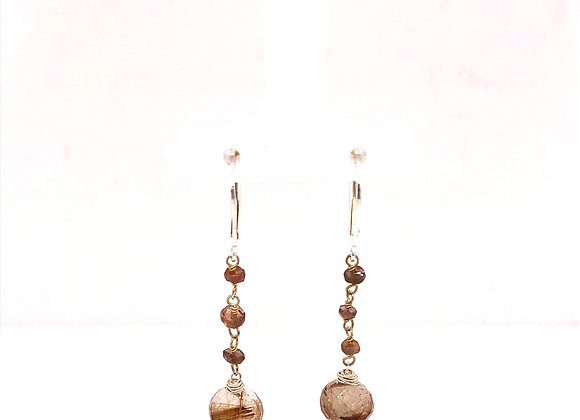 Andalucite and Rutilated Quartz Earrings