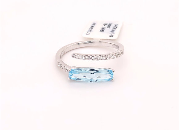 Modified Checkerboard Blue Topaz Ring