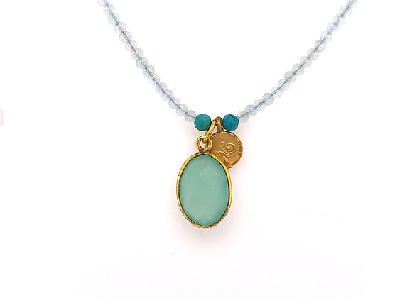 Chalcedony and Turkish Coin Necklace
