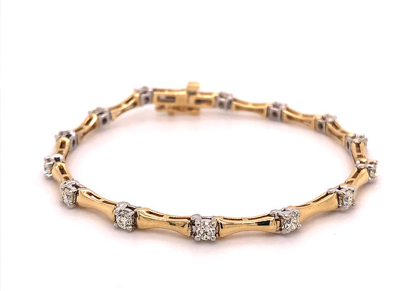 2-Tone Diamond Link Style Bracelet