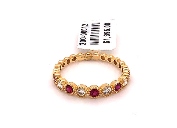 Ruby and Diamond Stackable Band