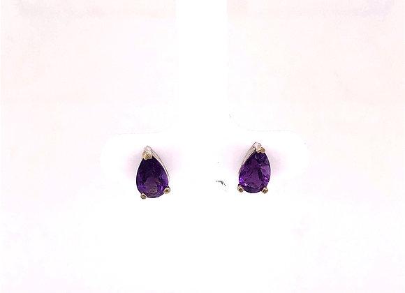 Pear Shaped Amethyst Stud Earring