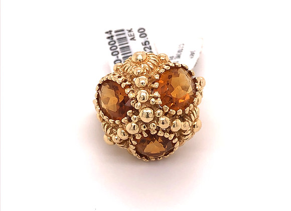 3 Stone Citrine Granulated Ring