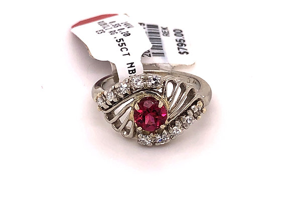 Vintage/Estate Pink Tourmaline and Diamond Ring