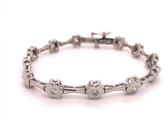 Floral Diamond Link Bracelet