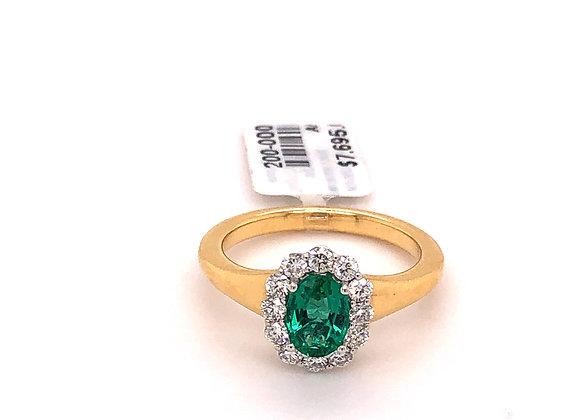 Oval Emerald Diamond Halo Ring