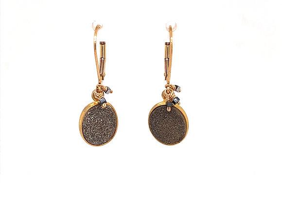 Bezel Set Druzy Cluster Earrings