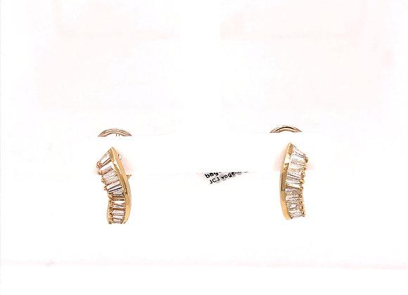 Curve Channel Set Baguette Earrings