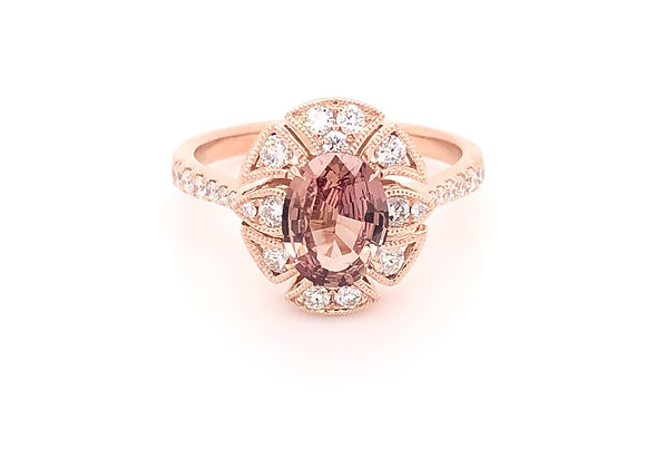 Rose Gold Brown/Pink Sapphire Ring