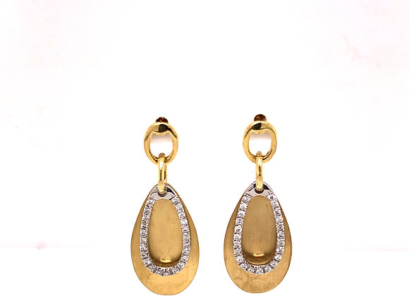 Teardrop earrings with oval diamond accent