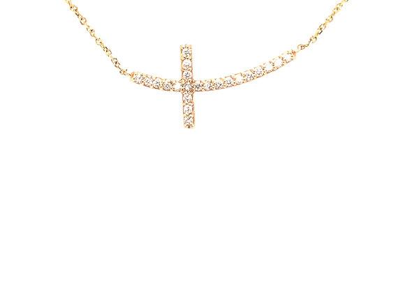 Yellow Gold Horizontal Diamond Cross