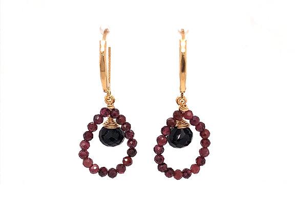 Garnet and Black Spinel Earrings