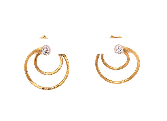 Double Circle Gold and Diamond Earring