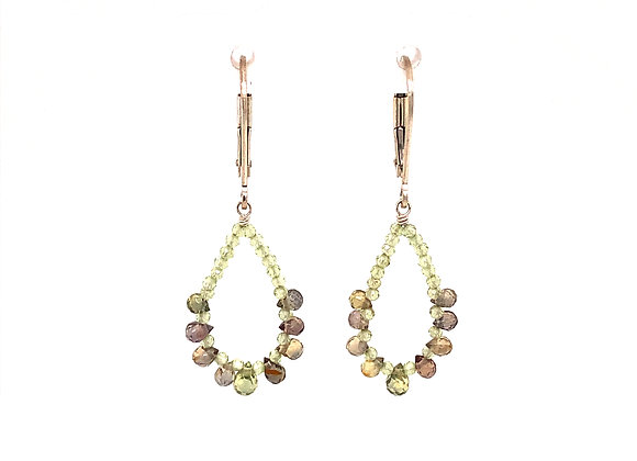 Peridot and Saaphire Teardrop Earrings
