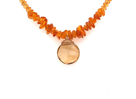 Amber and Hessonite Necklace