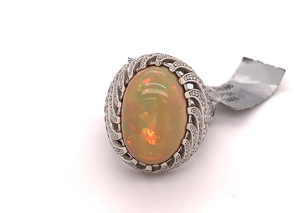 John Buechner Opal and Diamond Ring
