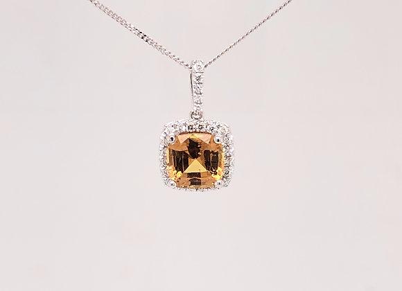 Fancy Orange Sapphire Pendant