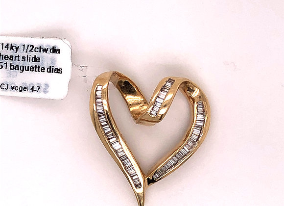 Heart Shaped Channel Set Baguette Diamond Slide Pendant