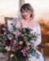 Bride in wedding dress holding wedding bouquet, Film Portrait.