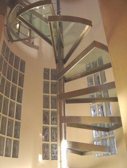 Escalera, acero inoxidable-vidrio