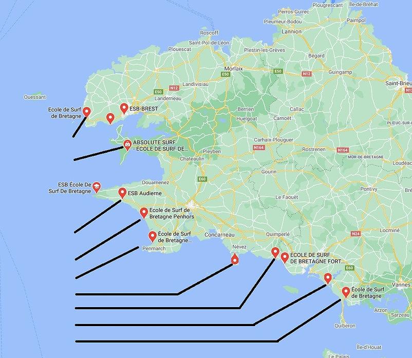 carte des écoles de surf de Bretagne, cours de surf, stage de surf, initiation de surf, cours de surf guidel et ploemeur