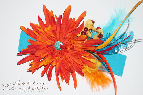 Orange Flower Stretch Headband