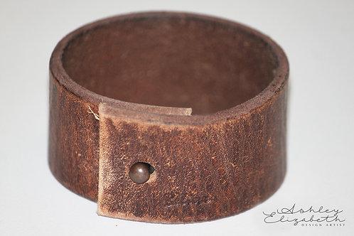 Dark Brown Leather Believe Cuff