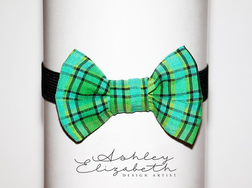 Green Plaid Seersucker Bow Tie