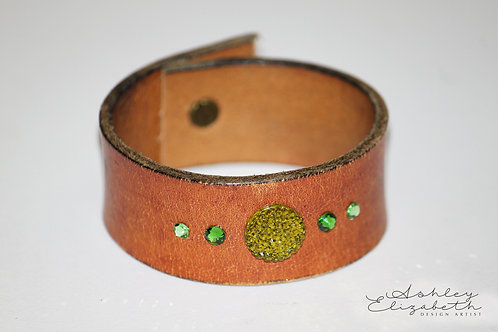 Light Brown Leather Cuff with Green Swarovski Crystals