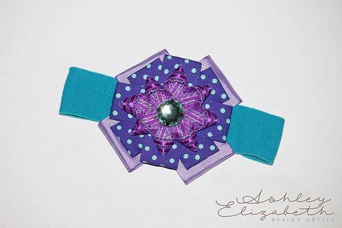 Purple & Aqua Ribbon Flower Stretch Headband