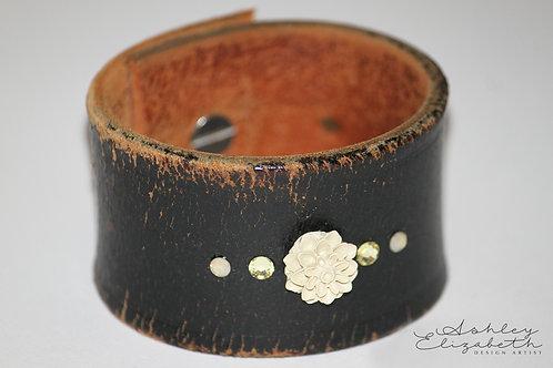 Warn Black Leather Cuff with Flower and Swarovski Crystals