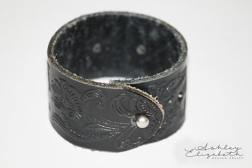 Black Embossed Leather Cuff
