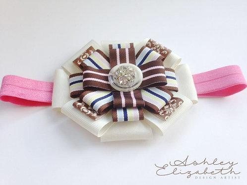 Brown & Pink Ribbon Flower Stretch Headband