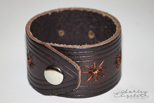 Dark Brown Embossed Leather Cuff