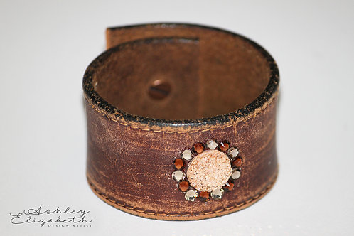 Warn Leather Cuff with Brown and Peach Swarovski Crystals