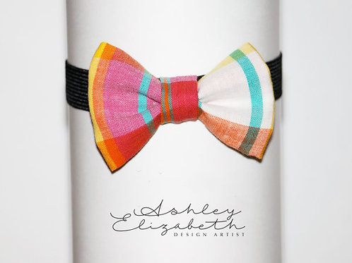 Multi Color Madras Plaid Bow Tie